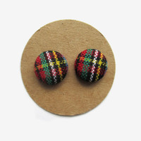 Plaid Button Earrings // Fall Plaid // Plaid Fabric // Fall Earrings // Fall Jewelry // Plaid // Holiday Plaid // Teen Girl // Gift for Her