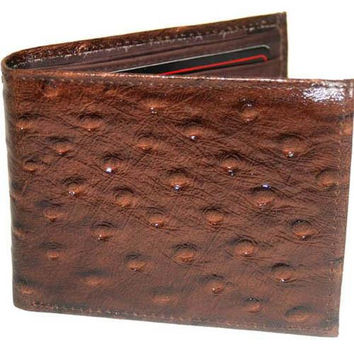 Special Series Ostrich Pattern Mens Leather Removable ID Flap Bifold Wallet 5562 CF (C)