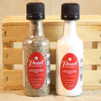 Salt & Pepper Shaker from Upcycled Pearl Pomegranate Vodka Mini Liquor Bottles