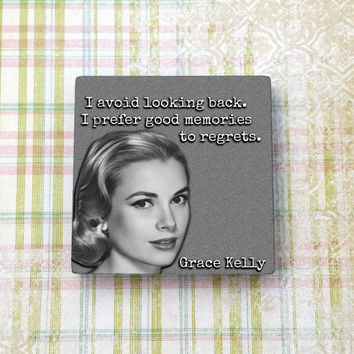 Grace Kelly Quote Vintage Hollywood Ceramic Tile Refrigerator Fridge Magnet Cubicle Dorm Decor Magnet Board