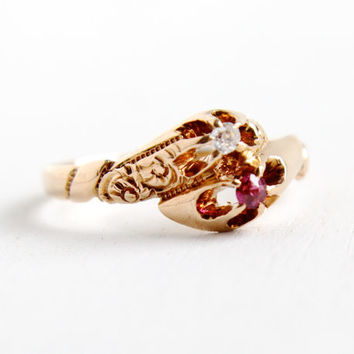 Antique Victorian 10K Rose Gold Ruby & Diamond Bypass Ring - Toi Et Moi Size 6 1/2 Edwardian Early 1900s Jewelry with Art Nouveau