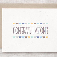 Congratulations Card - Recycled Card - Semi Circles - For Boys, Wedding, New Baby, Graduation Card, Engagement Card