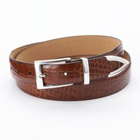 Dockers Tapered Faux-Crocodile Tan Leather Belt - Men, Size: