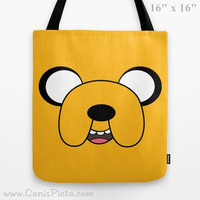 Adventure Time Jake the Dog Tote Bag Television Show 13x13 Graphic Print TV Pop Culture Humor Yellow Mustard Ochre Gift Him Her Cartoon Fun