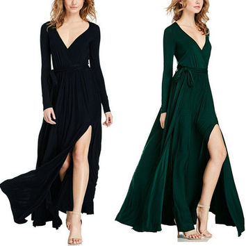 Fashion V-Neck Solid Color Long Sleeve Dress