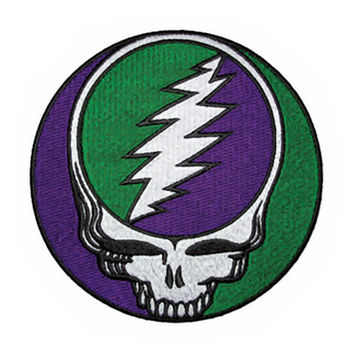 Grateful Dead Iron-On Patch Green Purple Skull Circle