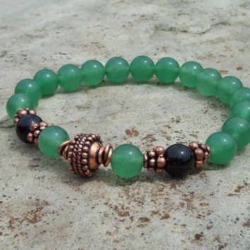 Stretch Yoga Bracelet - Green Aventurine and Onyx with Copper Bali Bead - Meditation
