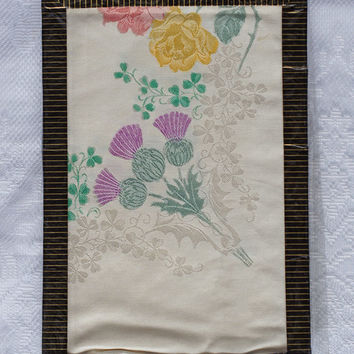 Hand Painted Tablecloth in original box Vintage Irish rayon thistle design in ivory, purple mauve, mustard gold and green