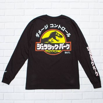 BAIT x Jurassic Park Men Damage Control Long Sleeve Tee (black)