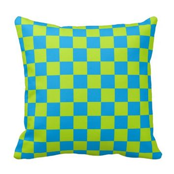 Checkered Lime Green and Turquoise Pillow