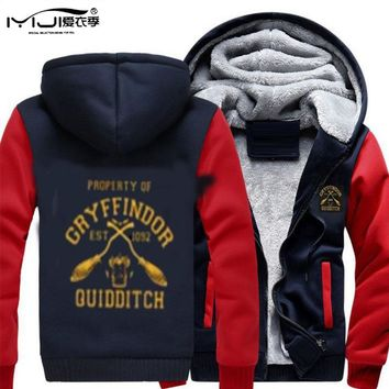 Thick Cotton Men Hoodies Gryffindor Quidditch Slytherin Baseball Jacket Moleton Warm Sweatshirts Hooded Coat Mantle Hm24 Z30