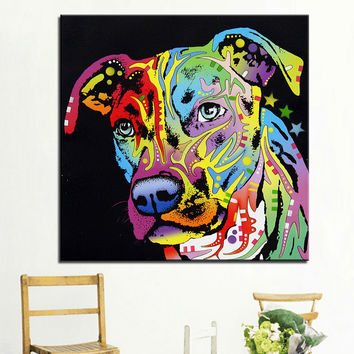 Large size Print Oil Painting Wall painting angel pit bull Home Decorative Wall Art Picture For Living Room paintng No Frame