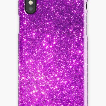 'Cool Pattern - Pink Purple And Violet Glitter Girly Design' iPhone Case by Quaintrelle