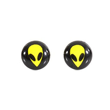 Space Alien Stud Earrings Silver Tone Retro UFO Posts EF18 Fashion Jewelry