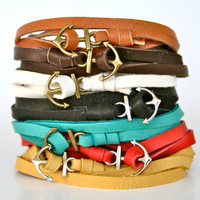 Leather Anchor Bracelet - Men's or Women's, Multiple Colors, Nautical Wrap Adjustable Bracelet