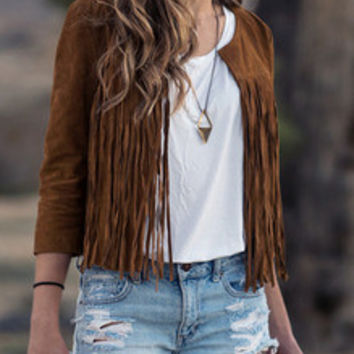 Brown Round Neck Tassel Coat