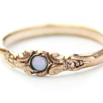 Antique Opal Gold Filled Ring Size 6