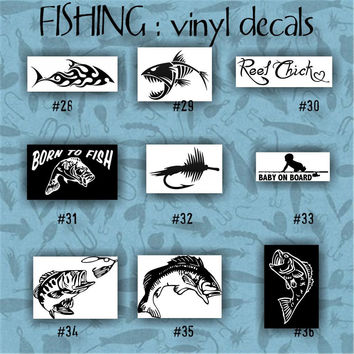 FISHING vinyl decals - pgs 4-6 - car window stickers - personalizable