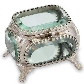 Modern Day Accents Joya Square Metal And Glass Jewelry Box