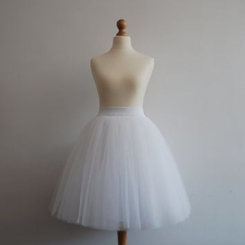 White swan - ladies tulle skirt / adult tutu skirt  / off white tulle skirt / wedding skirt / bright white tulle skirt