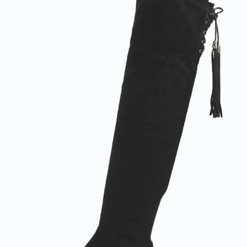 e3d83b13be9 Eva Flat Over Knee Fringe Trim Boots from boohoo