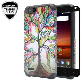 ZTE Tempo X Case, Tempo Go, Blade Vantage, Avid 4, ZFive C, ZFive G, N9137, Z557BL, Z558VL,[Include Temper Glass Screen Protector] Slim Hybrid Dual Layer [Shock Resistant] Case for Tempo X - Colorful Tree