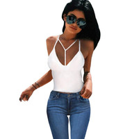 Sexy  Women Clothes Tops Bandage Backless Cami Tops Sexy Tight-fitting V-neck Sleeveless Tanks Crop Top