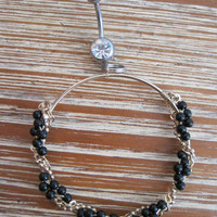 Belly Button Ring - Body Jewelry - Gold Hoop with Black Beads and Chain with Clear Gem Stone Belly Button Ring
