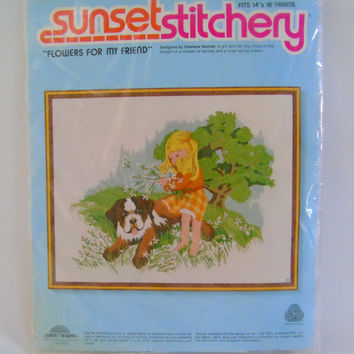 Flowers For My Friend Saint Bernard Dog Charlene Gerrish Design 1978 Vintage Sunset Stitchery Crewel Embroidery Kit No 2720