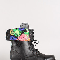 Tropical Fold-Over Military Lace Up Boot