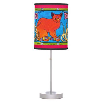 Indian Cat With Lilies Colorful Cat Design Desk Lamp