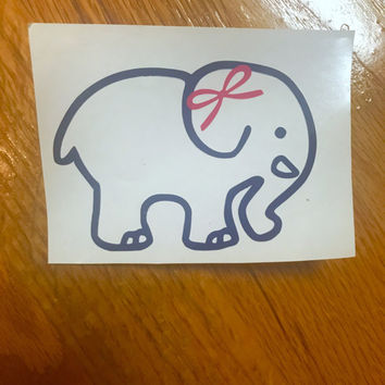 Ivory Ella inspired decal, Ivory Ella-Inspired Decal w/ Optional Bow, preppy decal, preppy car decal, elephant decal, preppy laptop decal