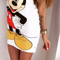 White Mickey Mouse Print Cut Out Back Dress