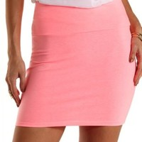 Neon Pink Solid Bodycon Mini Skirt by Charlotte Russe