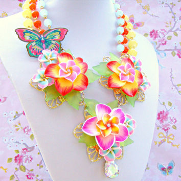Orange Pink Statement Necklace, Statement Polymer Clay Necklace, Cath Kidston Butterfly Brooch Necklace, OOAK Summer Necklace,
