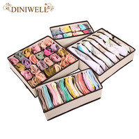 DINIWELL 4PCS Storage Boxes Ties Sock Shorts Bra Underwear Divider Drawer Lidded Closet Home Organizer Ropa Interior Organizador