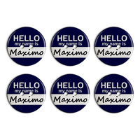 Maximo Hello My Name Is Plastic Resin Button Set of 6