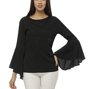 Fancyqube Womens Round Neck Long Bell Sleeve Chiffon Blouse Top