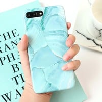 LOVECOM For iphone 6 6S 7 Plus 8 Plus Fashion ins Painting Graffiti Light Green Marble Mobile Phone cases Soft IMD Back Cover
