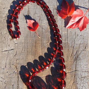 Art Deco Autumn Red Cherry Amber Bakelite Necklace