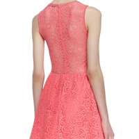 For Love & Lemons Lulu Paisley Lace Fit-And-Flare Dress, Bubblegum Pink