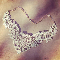 White Metal Lace Filagree Bib Statement Necklace