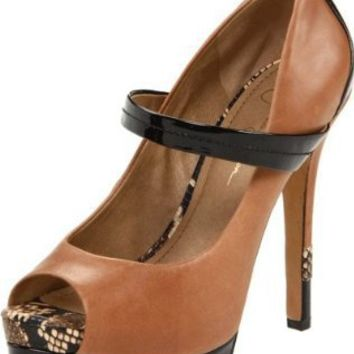 Jessica Simpson Women's Ely Open-Toe Pump,Tan Lima Leather,7 M US