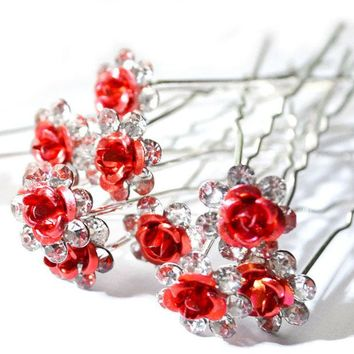 DCCKL72 20Pc/Lot Women Bridal Wedding Crystal Diamante Flower Rose Hairpin Clip Barrettes Sticks Hair Braider Styling Tools Accessories