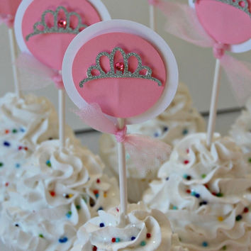 Pink Princess Birthday Party Cupcake Toppers (set of 12)