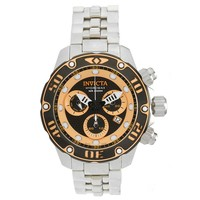 Invicta 19014 Men's Hydromax Yellow & Black Perforated Dial Steel Bracelet Chrono Dive Watch