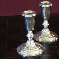 Vintage Crown 925 Colonial Candlesticks, Sterling Silver Console Weighted Candle Holders