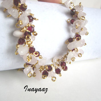 45% SALE Rhodolite Garnets and Rose Quartz Necklace Ombre Semiprecious  Gemstone 18k Gold  Cluster Jewelry Free Shipping