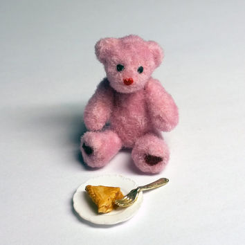 Pink Miniature Teddy Bear, Handmade Dollhouse Miniature, Polymer Clay, Wool, Made to Order