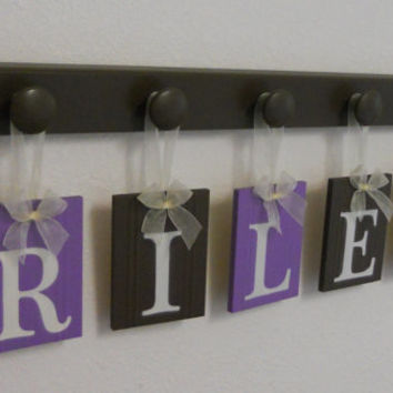 Baby Girl Brown Purple Nursery Wall Letters - Name for RILEY - 5 Peg Hooks in Brown and Lilac